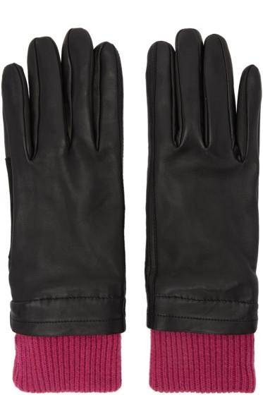 AMI Alexandre Mattiussi - Black & Purple Rib Cuff Gloves