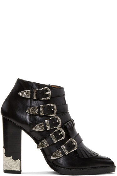 Toga Pulla - Black Heeled Five-Buckle Western Boots