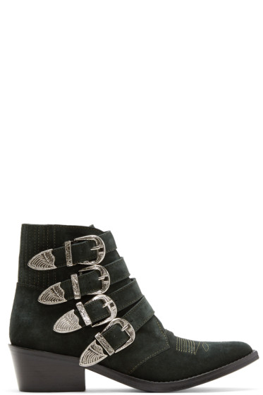 Toga Pulla - Green Suede Four-Buckle Western Boots