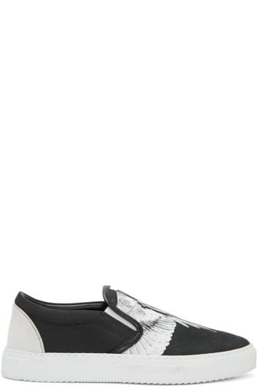 Marcelo Burlon County of Milan - Black & White Aish Slip-On Sneakers