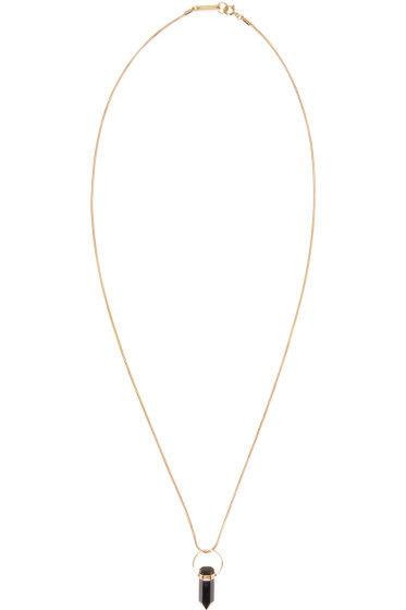 Isabel Marant - Gold & Black Stone Drop Necklace