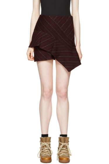 Isabel Marant - Burgundy Pinstripe Kimura Miniskirt