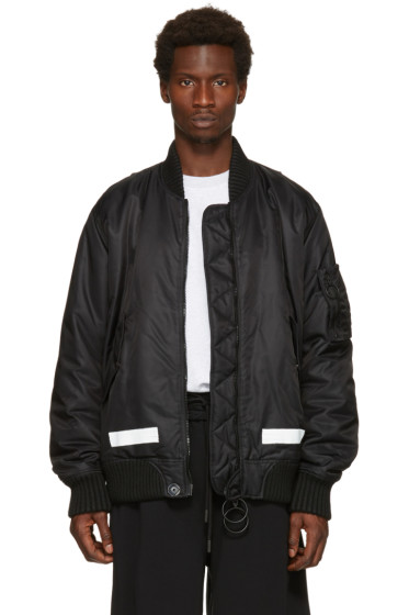 Off-White - Black Brushed Bomber Jacket