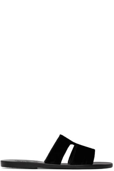 Ancient Greek Sandals - ブラック ベルベット アプテロ サンダル