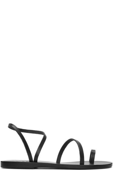 Ancient Greek Sandals - ブラック アプリ エレフセリア サンダル