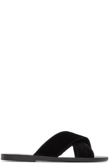 Ancient Greek Sandals - ブラック ベルベット タイス サンダル