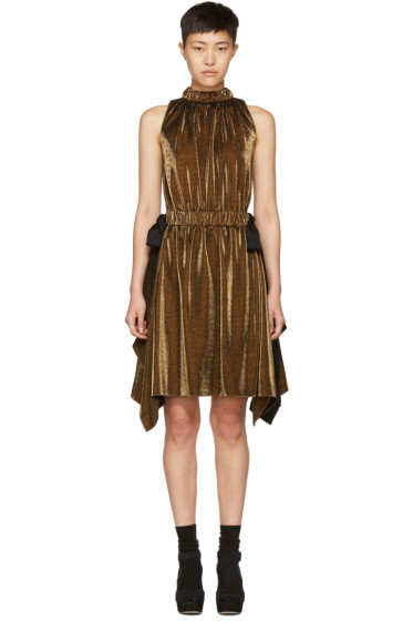 Fendi - Gold Lurex Bows Halter Dress