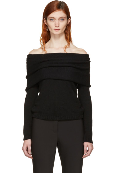 Rosetta Getty - Black Banded Off-the-Shoulder Pullover