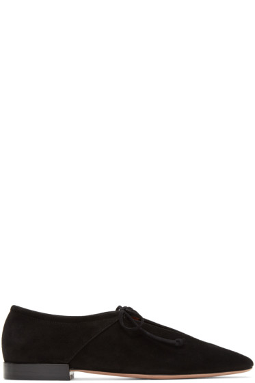 Rosetta Getty - Black Suede Lace-Up Flats