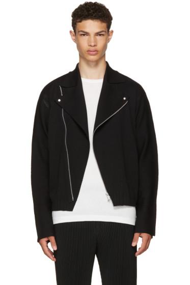 Issey Miyake Men - Black A-POC Knit Biker Jacket