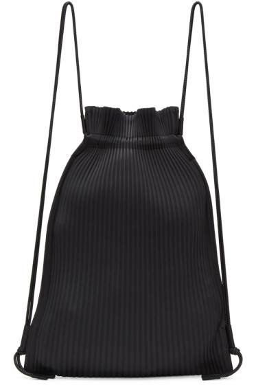 Homme Plissé Issey Miyake - Black Faux-Leather Pleats Backpack