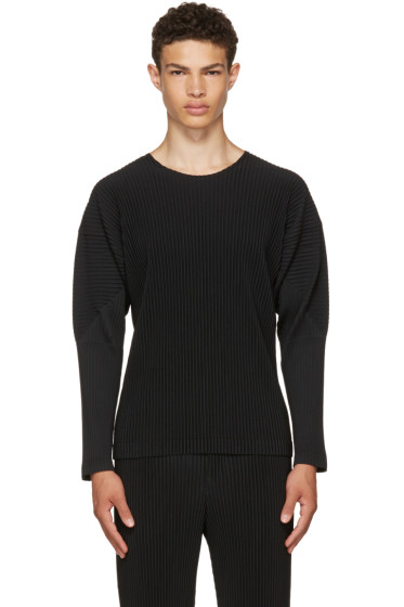 Homme Plissé Issey Miyake - Black Long Sleeve Classic Pleats T-Shirt