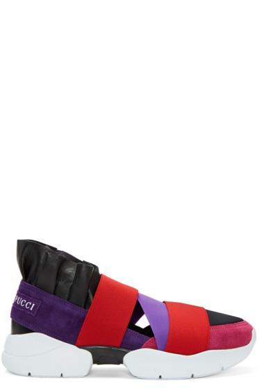 Emilio Pucci - パープル & ブラック カラーブロック スリッポン スニーカー