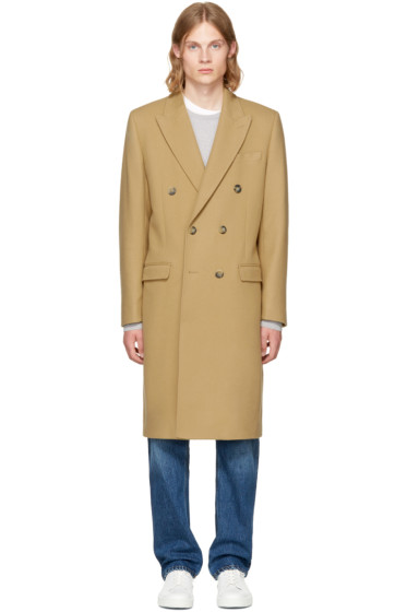 Éditions M.R  - Tan Double Breasted Wool Overcoat