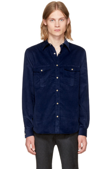 Éditions M.R  - Navy Corduroy Travelling Shirt