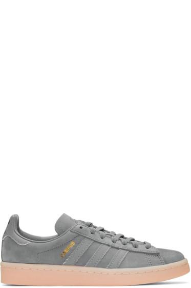 adidas Originals - Grey & Pink Suede Campus Sneakers