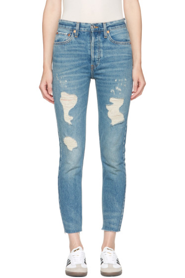 Re/Done - Blue Originals High-Rise Ankle Crop Rigid Jeans