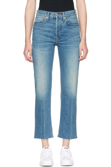 Re/Done - Blue Originals High-Rise Stove Pipe Rigid Jeans