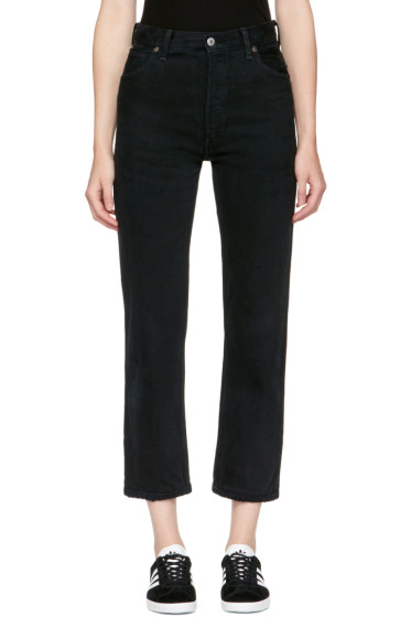 Re/Done - Black Levi's Edition Destruction High-Rise Crop Straight Jeans