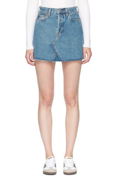 Re/Done - Blue Originals Denim High-Rise Rigid Miniskirt