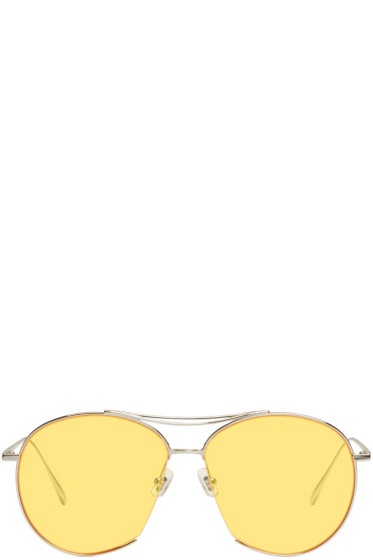 Gentle Monster - Silver & Yellow Jumping Jack Aviator Sunglasses