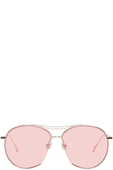 Gentle Monster - Silver & Pink Jumping Jack Aviator Sunglasses