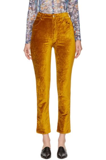 Eckhaus Latta - Gold Velvet Trousers