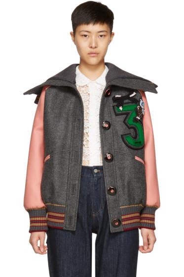 Miu Miu - Pink & Grey Oversized Bomber Jacket