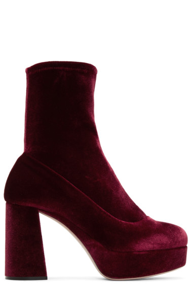 Miu Miu - Burgundy Velvet Platform Sock Boots