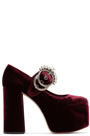 Miu Miu - Burgundy Velvet Platform Mary Jane Heels