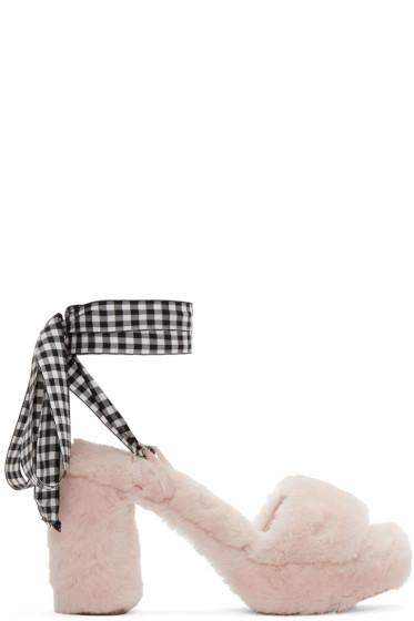 Miu Miu - ピンク シアリング サンダル