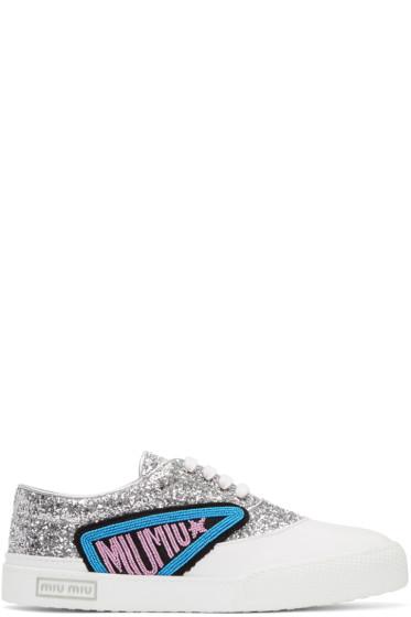Miu Miu - Silver Glitter Patch Sneakers