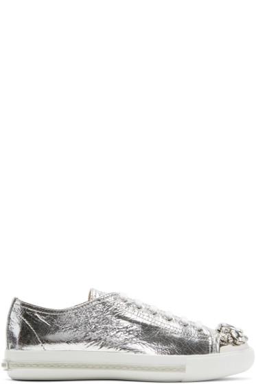 Miu Miu - Silver Bejewelled Metallic Sneakers