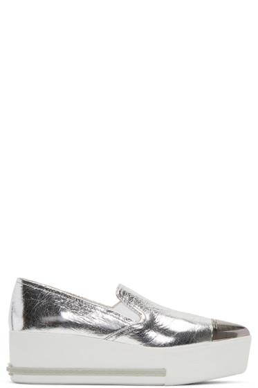 Miu Miu - Silver Pointed Slip-On Sneakers