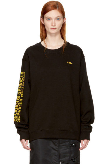 032c - SSENSE Exclusive Black 'Religious Services' Sweatshirt