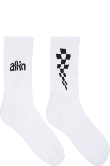 all in - White Logo Socks