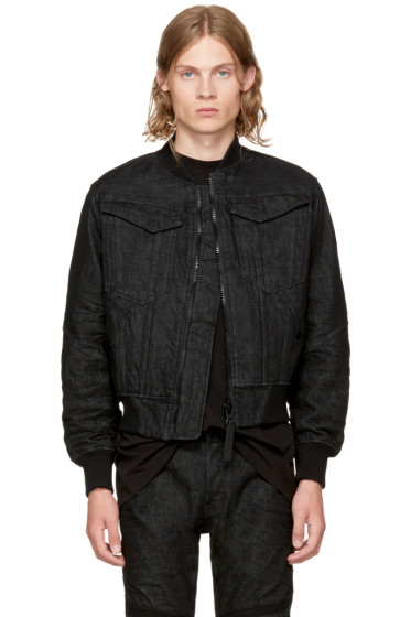 Raw Research - Black Denim Deline Bomber Jacket