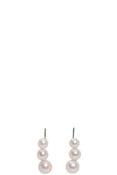 Saskia Diez - Silver Triple Pearl Earrings