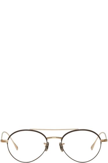 Eyevan 7285 - Gold & Brown 'Model 139' Glasses