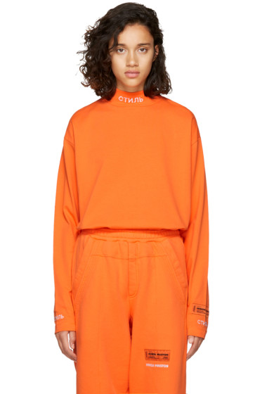 Heron Preston - Orange Long Sleeve 'CTNMB' T-Shirt