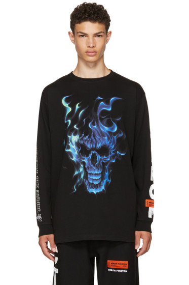 Heron Preston - Black Long Sleeve Skull T-Shirt