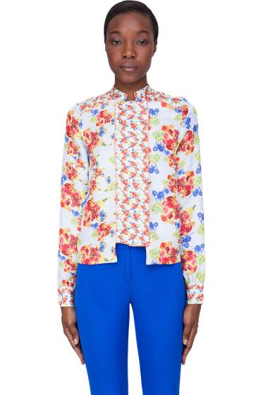 Suno - Pale Blue Floral Silk Bouquet Blouse