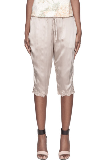 Suno - Taupe Floral Embroidery silk Capris