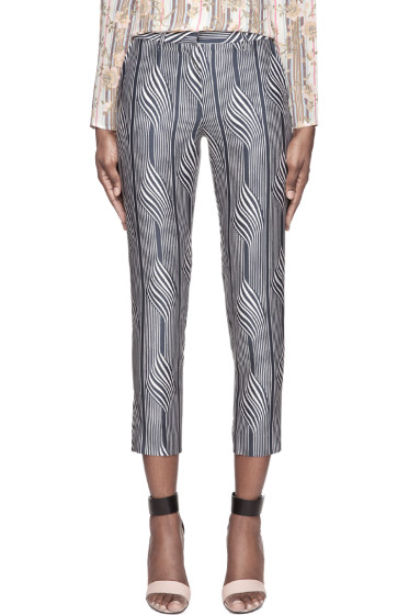 Suno - Navy warped stripe Classic Trousers
