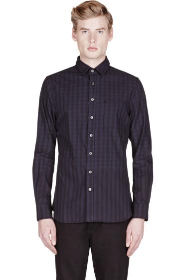 Wings + Horns - Black Engineered Plaid Stripe Shirt