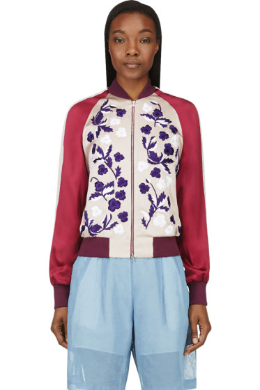 Jonathan Saunders - Blush Floral Embroidery Cecily Bomber Jacket