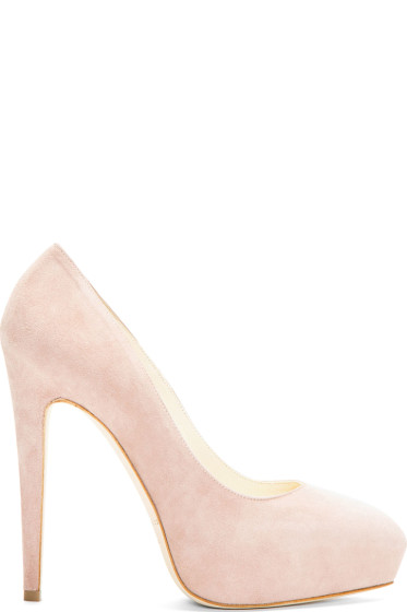 Brian Atwood - Nude Suede Platform Obsession Pumps