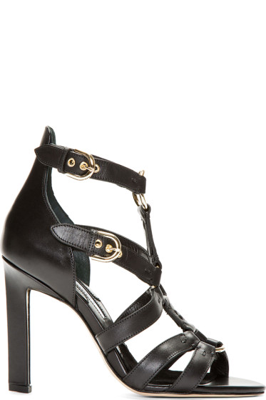 Brian Atwood - Black Leather Harness Adrya Heels