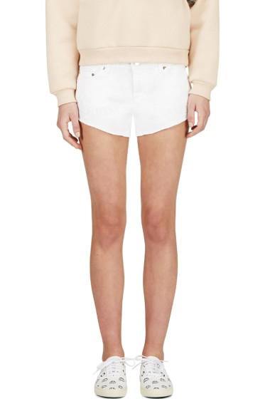 Filles a Papa - White Embroidered Denim Chastity Mini Shorts