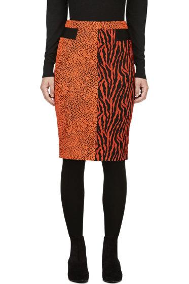 Avelon - Red-Orange Animal Print Jacquard Skirt